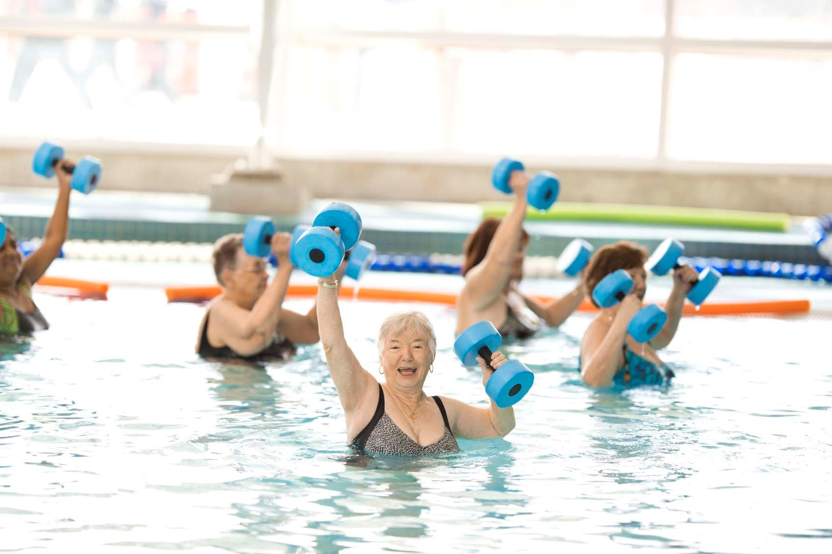ladies in shallow water fitness class