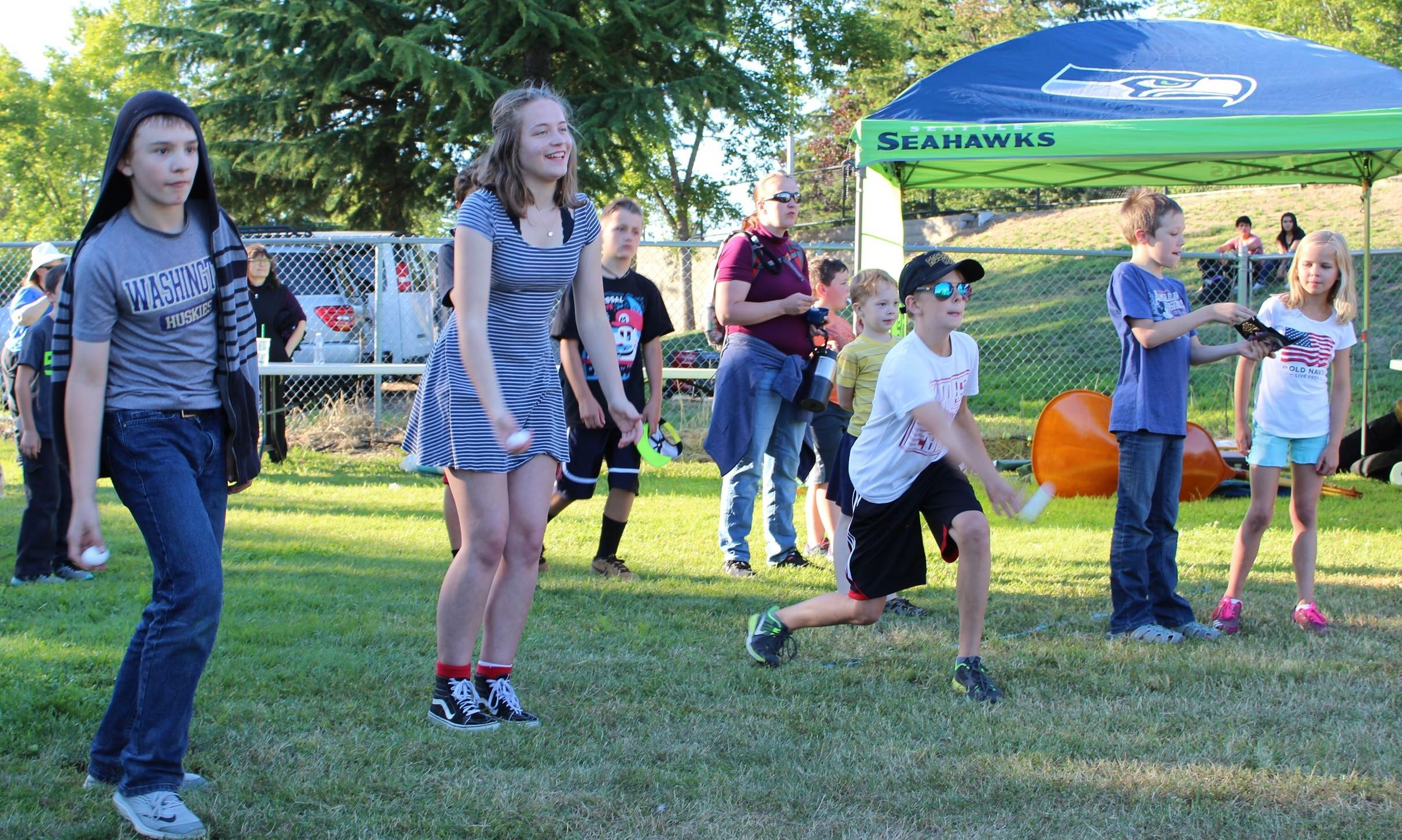 Egg Toss is one of the children's games.